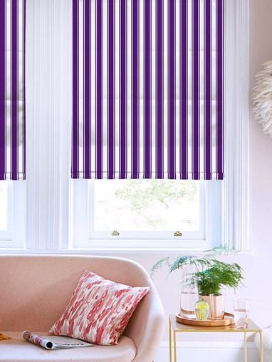 Ticking Stripe Purple Roman Blind
