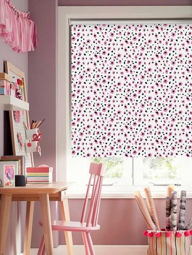 Leopard Print Blush Blackout Cordless Spring Loaded Roller Blind