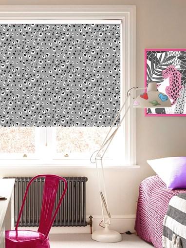 Leopard Print Slate Blackout Cordless Spring Loaded Roller Blind
