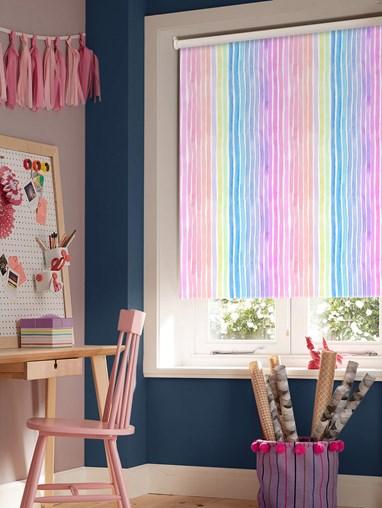 Rainbow Stripe Blackout Cordless Spring Loaded Roller Blind