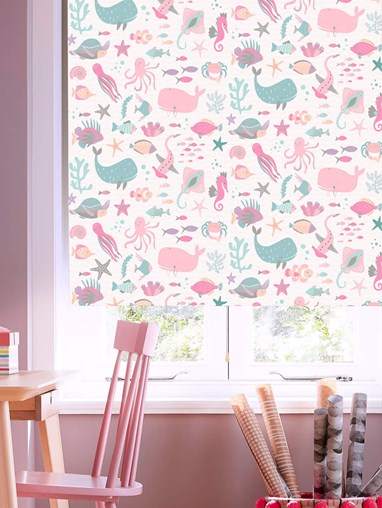 Under The Sea Candy Blackout Cordless Spring Loaded Roller Blind