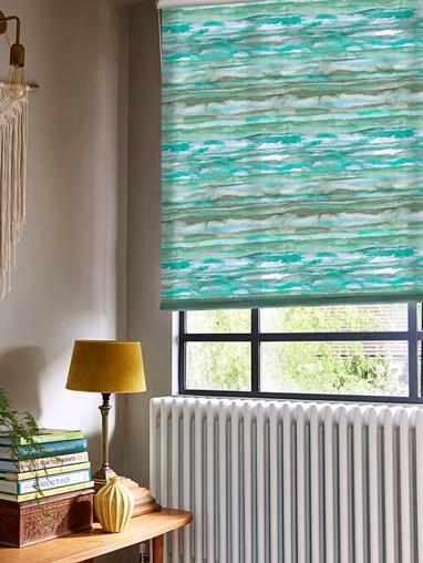 Aquarelle Stripe Aqua Roller Blind