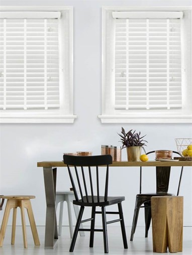 Daisy White Woodgrain Faux Wood Venetian Blind With White Tapes