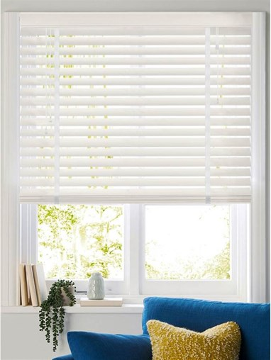 Flat White 50mm Faux Wood Venetian Blind With Tapes