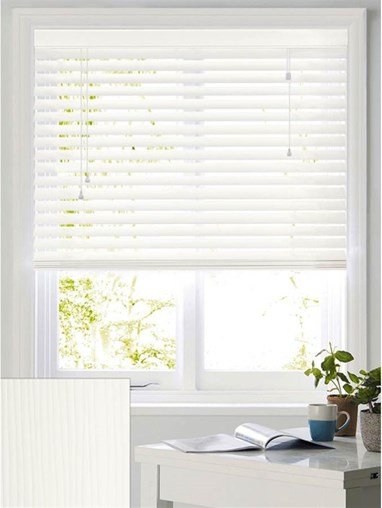 Flat White Woodgrain 50mm Faux Wood Venetian Blind