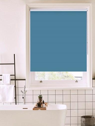 Flax Blue Bathroom Roller Blind