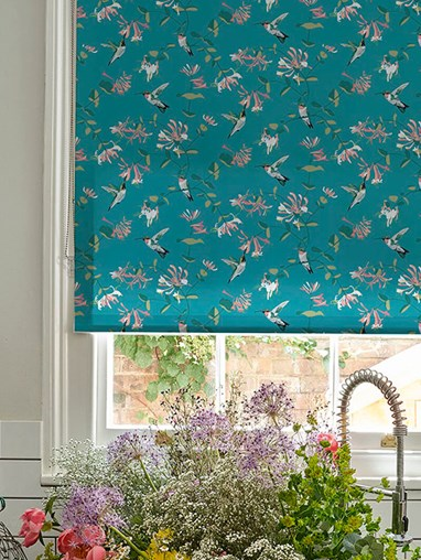 Hummingbird Teal Roller Blind by Lorna Syson