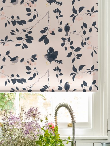 Wren and Cherry Roller Blind by Lorna Syson