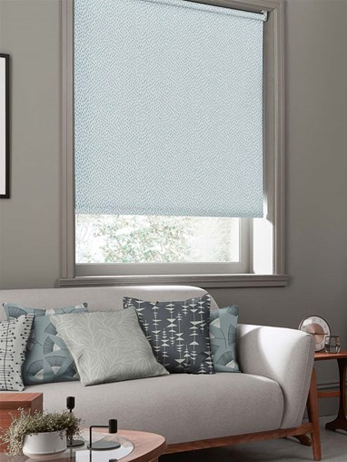 Woven Mono Teal Roller Blind By Miss Print