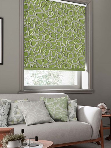 Pebbles Cricket Green Roller Blind By Miss Print