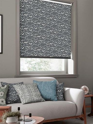 Saplings Graphite Roller Blind By Miss Print