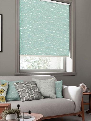 Saplings Pale Aqua Roller Blind By Miss Print