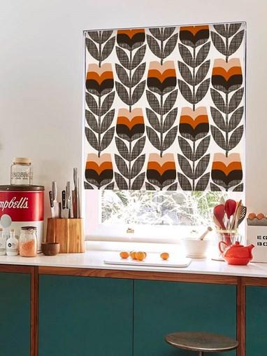 Orla Kiely Rosebud Orange Soft Fabric Roller Blind