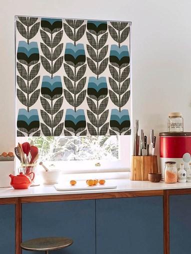 Orla Kiely Rosebud Powder Blue Soft Fabric Roller Blind