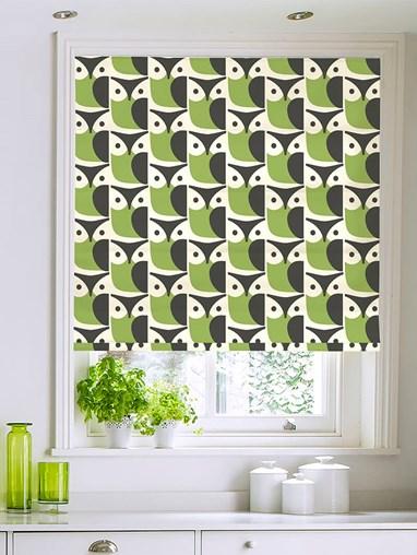 Orla Kiely Linear Owl Chalky Green Roman Blind