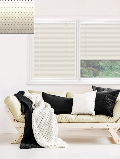 Perforated Cream 25mm Perfect Fit Venetian Blind
