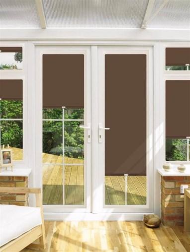 Blackout Chestnut Perfect Fit Roller Blind for Doors