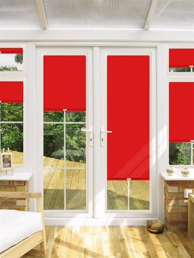 Blackout Brocade Red Perfect Fit Roller Blind for Doors