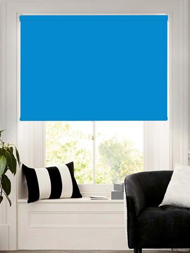 Regent Blue Blackout Cordless Spring Loaded Roller Blind