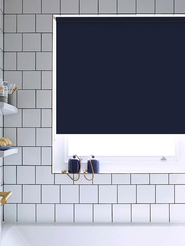 Navy Bathroom Roller Blind