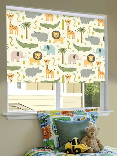 At The Zoo Blackout Cordless Spring Loaded Roller Blind