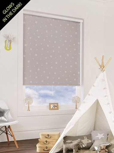 Glow In The Dark Stars Blackout Cordless Spring Loaded Roller Blind