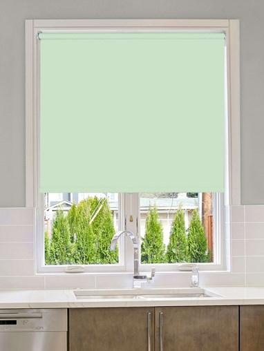Mint Green Blackout Cordless Spring Loaded Roller Blind