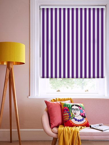 Ticking Stripe Purple Roller Blind