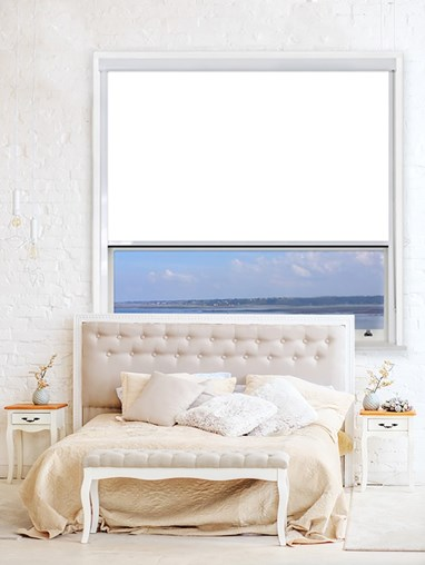 White Chain Operated Total Blackout Roller Blind | For Extra Large Windows