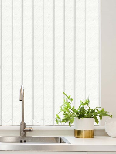 Carrara White Waterproof 89mm Vertical Blind Replacement Slats