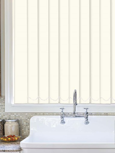 Cream Plain Waterproof 89mm Vertical Blind Replacement Slats