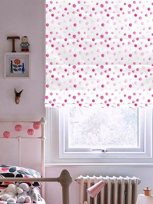 Pink Spots Roman Blind
