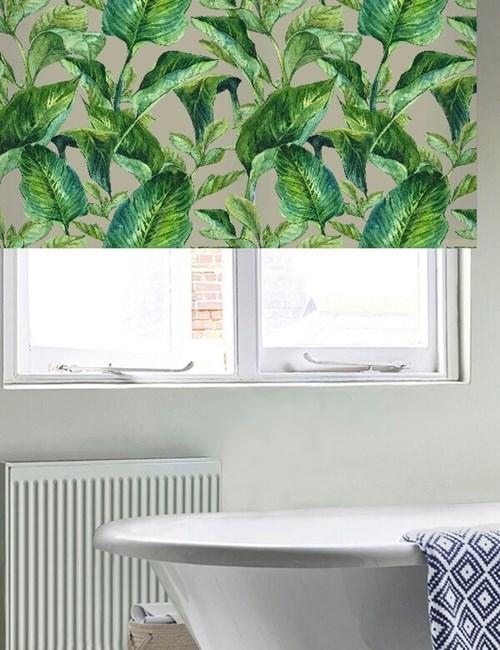 Jungle Leaves Grey Floral Roller blind