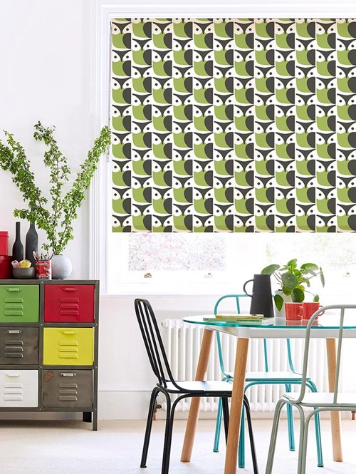 Orla Kiely Owl Chalky Green Soft Fabric Roller Blind