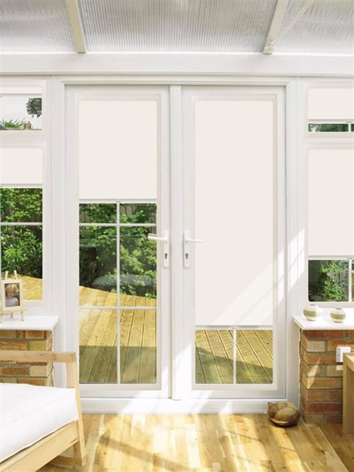 Blackout Warm Milk Perfect Fit Roller Blind for Doors