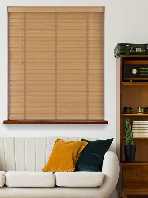 Sycamore Real Wood Venetian Blind With Toffee Tapes