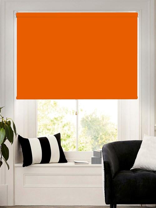 Action Orange Blackout Cordless Roller Blind Spring Loaded