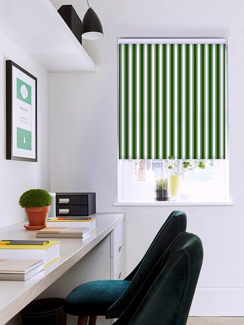 Ticking Stripe Green Roller Blind