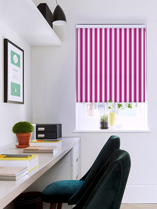 Ticking Stripe Pink Roller Blind