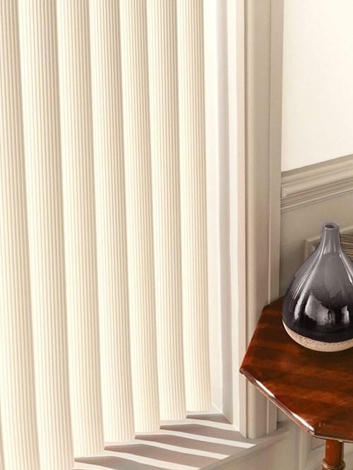 Ridged Cream Rigid PVC 89mm Vertical Blind