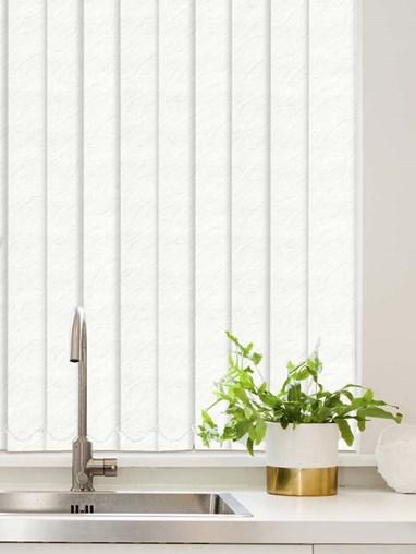 Carrara White Waterproof 89mm Vertical Blind