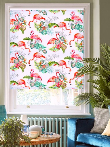 Flamingo Tropics Bright Floral Roller Blind