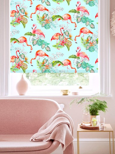 Flamingo Tropics Sky Floral Roller Blind