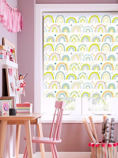 Over The Rainbow Pastel Blackout Roller Blind