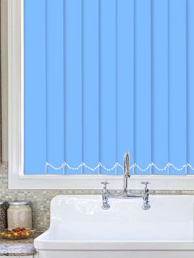 French Blue Plain Waterproof 89mm Vertical Blind Replacement Slats